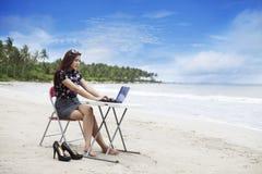Geschäftsfrau, die am Strand arbeitet lizenzfreies stockbild