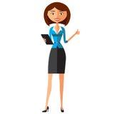 Geschäftsfrau, die Tablettengerättablet-computer-Touch Screen flache Karikaturvektorillustration verwendet EPS10 Lokalisiert auf  Stockbilder