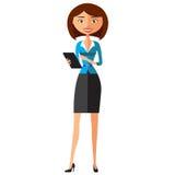 Geschäftsfrau, die Tablettengerättablet-computer-Touch Screen flache Karikaturvektorillustration verwendet EPS10 Lokalisiert auf  Stockbild