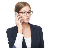 Geschäftsfrau, die am Telefon spricht Lizenzfreies Stockfoto