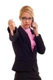 Geschäftsfrau, die unten Daumen gestikuliert Lizenzfreie Stockbilder
