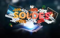 Geschäftsfrau, die Verkaufsikonen in ihrer Wiedergabe der Hand 3D hält Lizenzfreie Stockfotografie