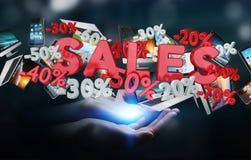 Geschäftsfrau, die Verkaufsikonen in ihrer Wiedergabe der Hand 3D hält Lizenzfreie Stockbilder