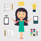 Geschäftsfrau, die viele Aufgaben tut lizenzfreie abbildung