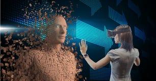 Geschäftsfrau, die VR-Gläser beim Berühren des Menschen 3d auf Schirm trägt Lizenzfreies Stockbild