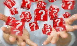 Geschäftsfrau, die Würfel mit Fragezeichen der Wiedergabe 3D verwendet Stockbilder