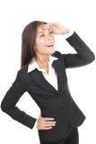Geschäftsfrau, die weg mit Erwartung schaut Lizenzfreies Stockfoto