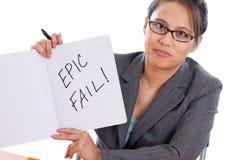 Geschäftsfrau, die Zeichen hält Stockfotografie