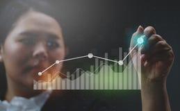 Geschäftsfrau Drawing Growing Statistic finanziell stockfotos