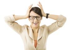 Geschäftsfrau-Druckkrise, Geschäftsfrauschreiproblem stockbilder