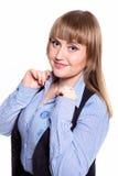 Geschäftsfrau in einem Hemd, in einer Weste und in Gläsern Stockbilder