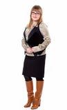 Geschäftsfrau in einem Hemd, in einer Weste und in Gläsern Lizenzfreies Stockfoto