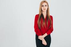 Geschäftsfrau in einer roten Bluse Stockfoto