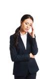 Geschäftsfrau ermüdet wegen der Probleme stockfotos