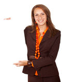 Geschäftsfrau - Fahne fügen hinzu Lizenzfreie Stockfotos