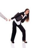 Geschäftsfrau festgehalten stockfotografie