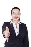 Geschäftsfrau gibt einen Händedruck stockbilder