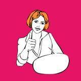 Geschäftsfrau greift oben - Retro- komische Art der Idee ab Lizenzfreie Stockfotos