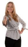 Geschäftsfrau-Handerschütterung stockfotos