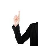 Geschäftsfrau-Handrührender virtueller Schirm. Lokalisiert auf Weiß. Stockfoto