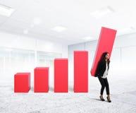 Geschäftsfrau herauf den Unternehmensgewinn stockbild