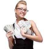 Geschäftsfrau Holding Money stockbilder