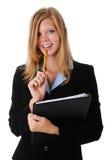 Geschäftsfrau-Holdingbleistift und -faltblatt stockbilder