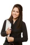 Geschäftsfrau-Holdingdokumente im Schwarzen Lizenzfreie Stockfotografie