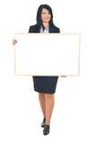 Geschäftsfrau-Holdingfahne Stockbilder
