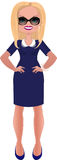 Geschäftsfrau im blauen Kleid Stockfotos