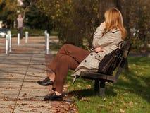 Geschäftsfrau-im Freientelefon-Aufruf Stockfotos