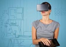 Geschäftsfrau im Kopfhörer der virtuellen Realität mit Tablette gegen blaue Hand gezeichnetes Büro Stockfotos