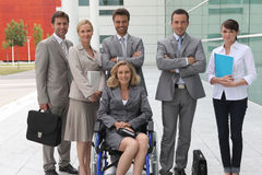 Geschäftsfrau im Rollstuhl stockbilder