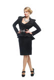 Geschäftsfrau im schwarzen eleganten Anzug, Stockbild