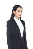 Geschäftsfrau im schwarzen langen Haar des Anzugs und der Hose stockbilder