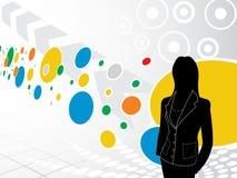 Geschäftsfrau mit abstraktem Hintergrund Stockfoto
