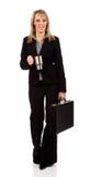 Geschäftsfrau mit Aktenkoffer und Kaffee Stockbild