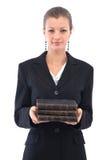 Geschäftsfrau mit alten Büchern Lizenzfreie Stockfotografie