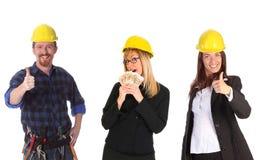 Geschäftsfrau mit Bargeld und Kollege stockbilder