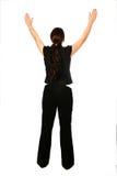 Geschäftsfrau mit beiden Armen heben oben an stockbilder