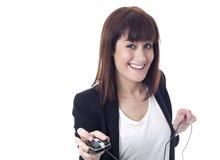 Geschäftsfrau mit Computer Maus und coyspace lizenzfreie stockfotografie