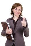 Geschäftsfrau mit Computerkasten Lizenzfreies Stockbild
