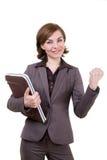 Geschäftsfrau mit Computerkasten Stockfotografie