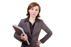 Geschäftsfrau mit Computerkasten Lizenzfreie Stockbilder