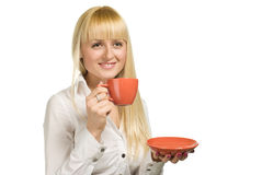 Geschäftsfrau mit Cup ein Stockfoto