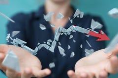 Geschäftsfrau mit defekter Wiedergabe des Krisenpfeiles 3D Lizenzfreie Stockfotografie