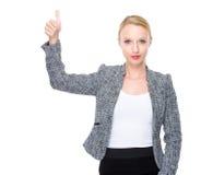 Geschäftsfrau mit dem Daumen oben Stockfotografie