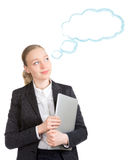 Geschäftsfrau mit dem Laptop-Träumen Lizenzfreie Stockfotografie
