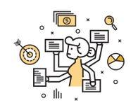 Geschäftsfrau mit dem Mehrere Dinge gleichzeitig tun der Arbeit lizenzfreie abbildung