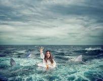 Geschäftsfrau mit dem Rettungsgürtel, der durch Haifische umgeben wird, bittet um Hilfe stockfoto